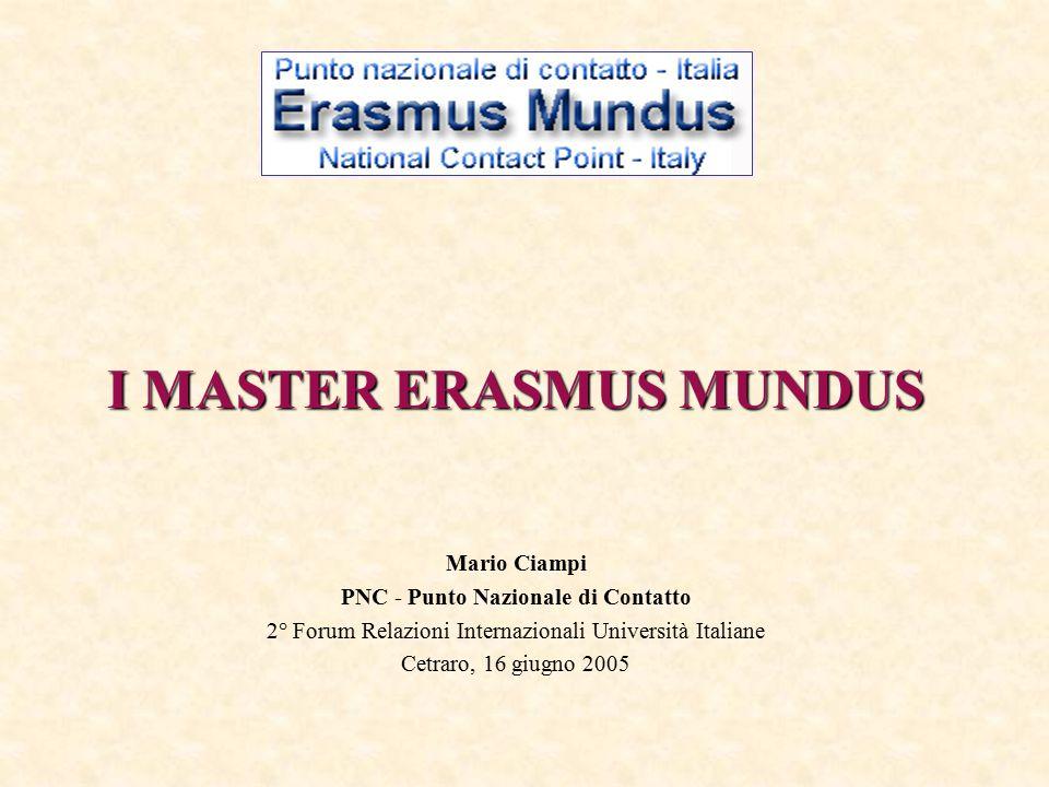 I MASTER ERASMUS MUNDUS Mario Ciampi PNC - Punto Nazionale di Contatto 2° Forum Relazioni Internazionali Università Italiane Cetraro, 16 giugno 2005