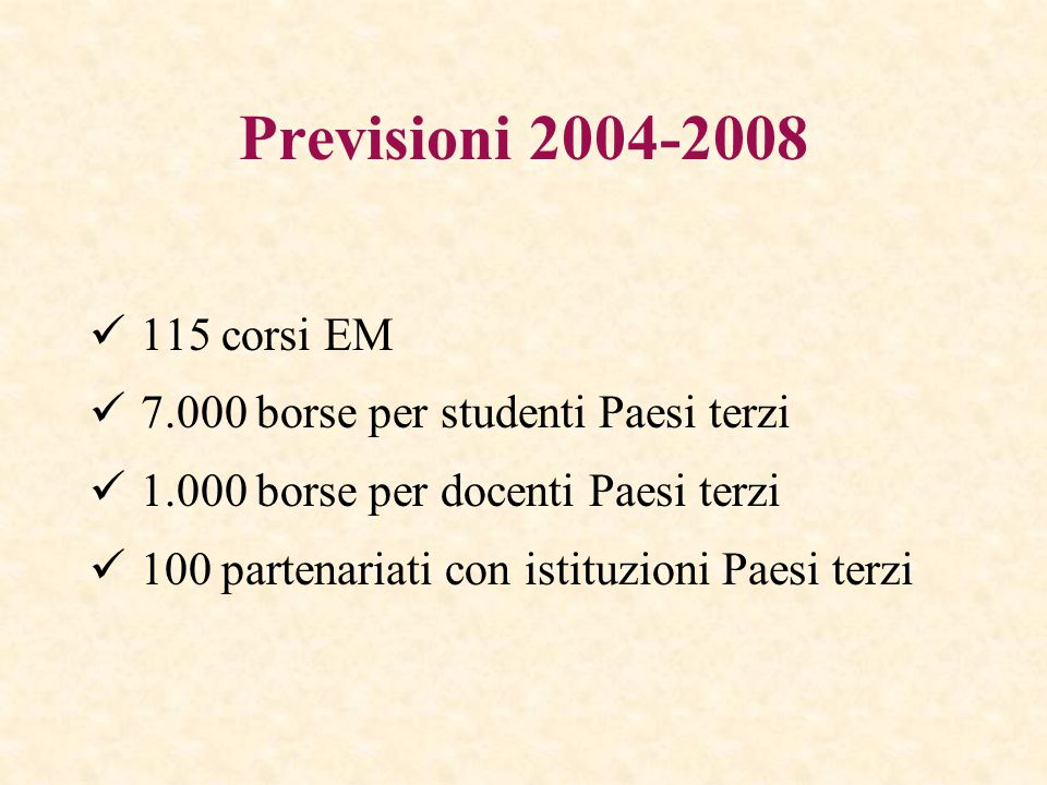 Previsioni 2004-2008 115 corsi EM 7.000 borse per studenti Paesi terzi 1.000 borse per docenti Paesi terzi 100 partenariati con istituzioni Paesi terzi