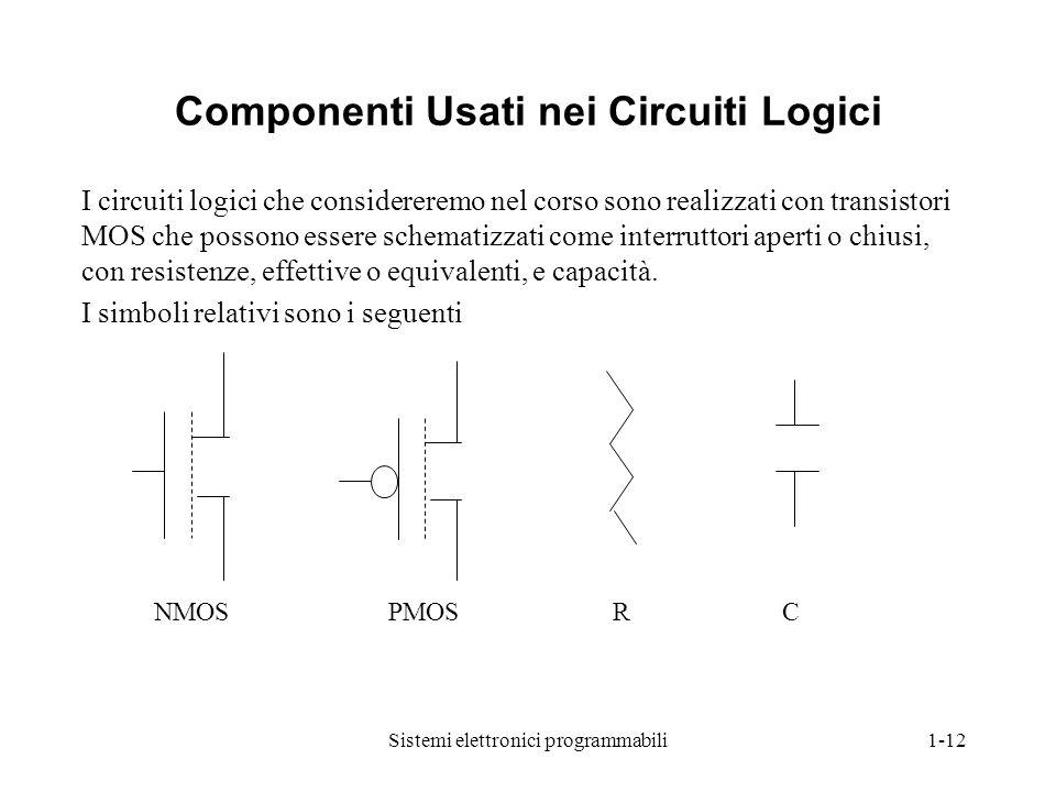 Sistemi elettronici programmabili1-12 Componenti Usati nei Circuiti Logici I circuiti logici che considereremo nel corso sono realizzati con transisto