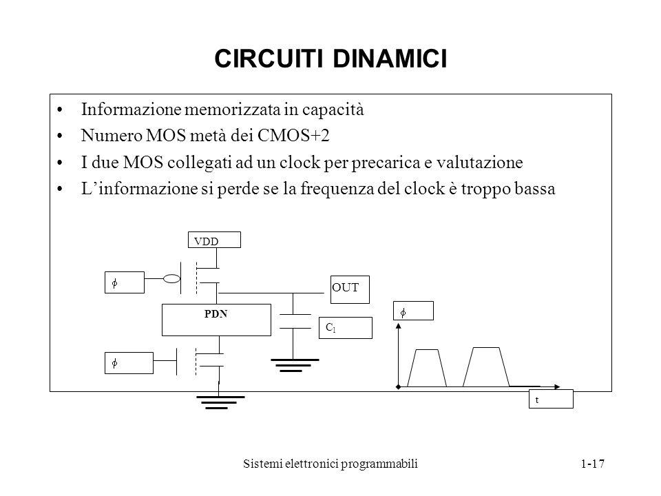 Sistemi elettronici programmabili1-17 CIRCUITI DINAMICI Informazione memorizzata in capacità Numero MOS metà dei CMOS+2 I due MOS collegati ad un cloc