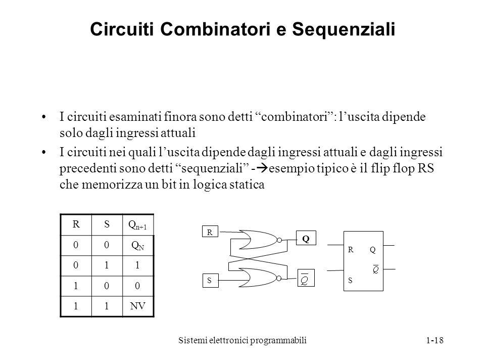 """Sistemi elettronici programmabili1-18 Circuiti Combinatori e Sequenziali I circuiti esaminati finora sono detti """"combinatori"""": l'uscita dipende solo d"""