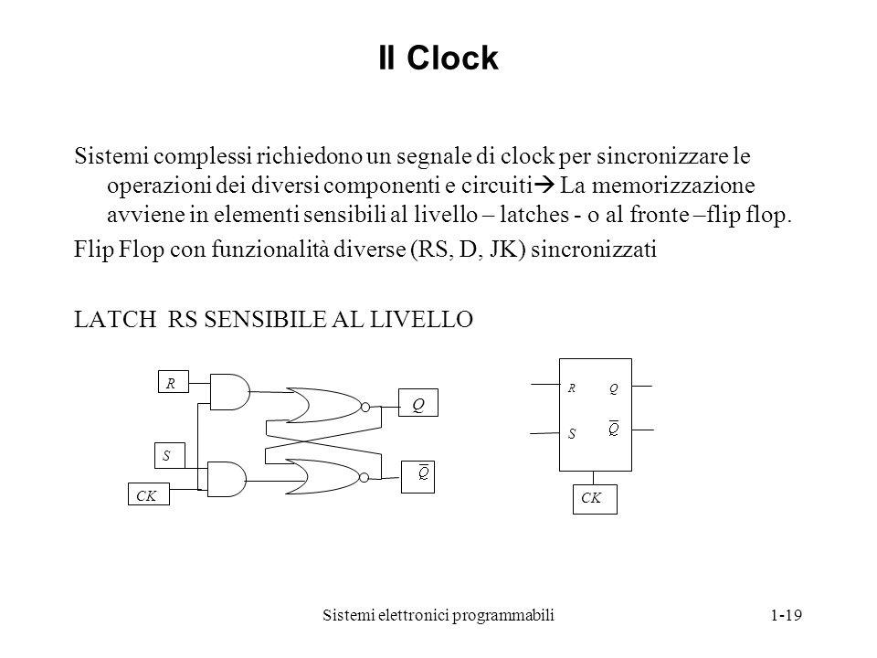 Sistemi elettronici programmabili1-19 Il Clock Sistemi complessi richiedono un segnale di clock per sincronizzare le operazioni dei diversi componenti