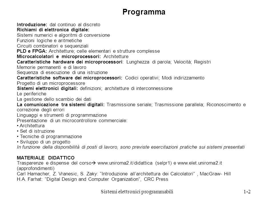 Sistemi elettronici programmabili1-2 Introduzione: dal continuo al discreto Richiami di elettronica digitale: Sistemi numerici e algoritmi di conversi