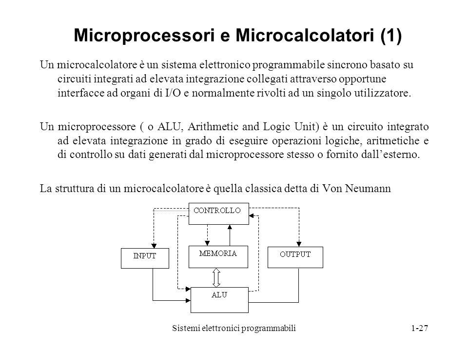 Sistemi elettronici programmabili1-27 Microprocessori e Microcalcolatori (1) Un microcalcolatore è un sistema elettronico programmabile sincrono basat