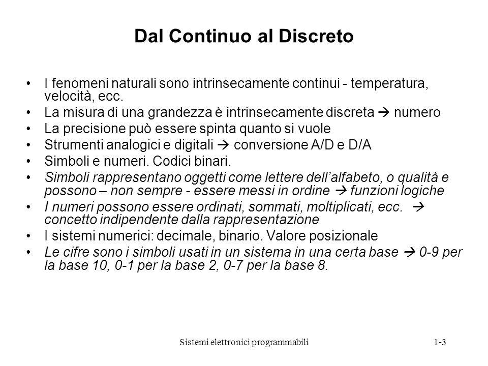 Sistemi elettronici programmabili1-3 Dal Continuo al Discreto I fenomeni naturali sono intrinsecamente continui - temperatura, velocità, ecc. La misur