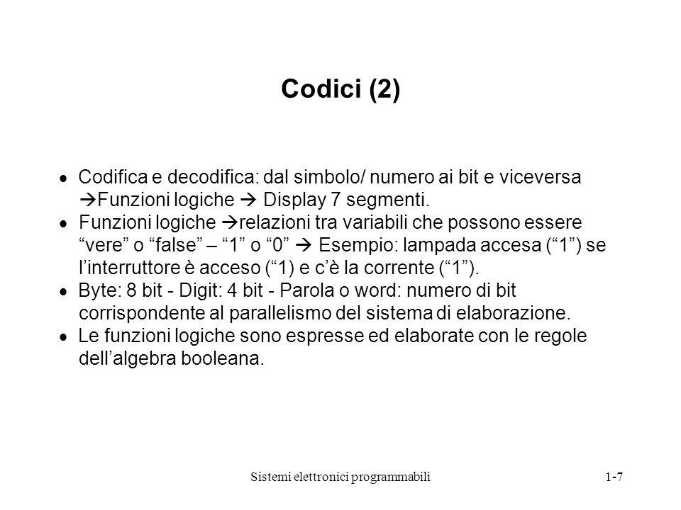 Sistemi elettronici programmabili1-7 Codici (2)  Codifica e decodifica: dal simbolo/ numero ai bit e viceversa  Funzioni logiche  Display 7 segment