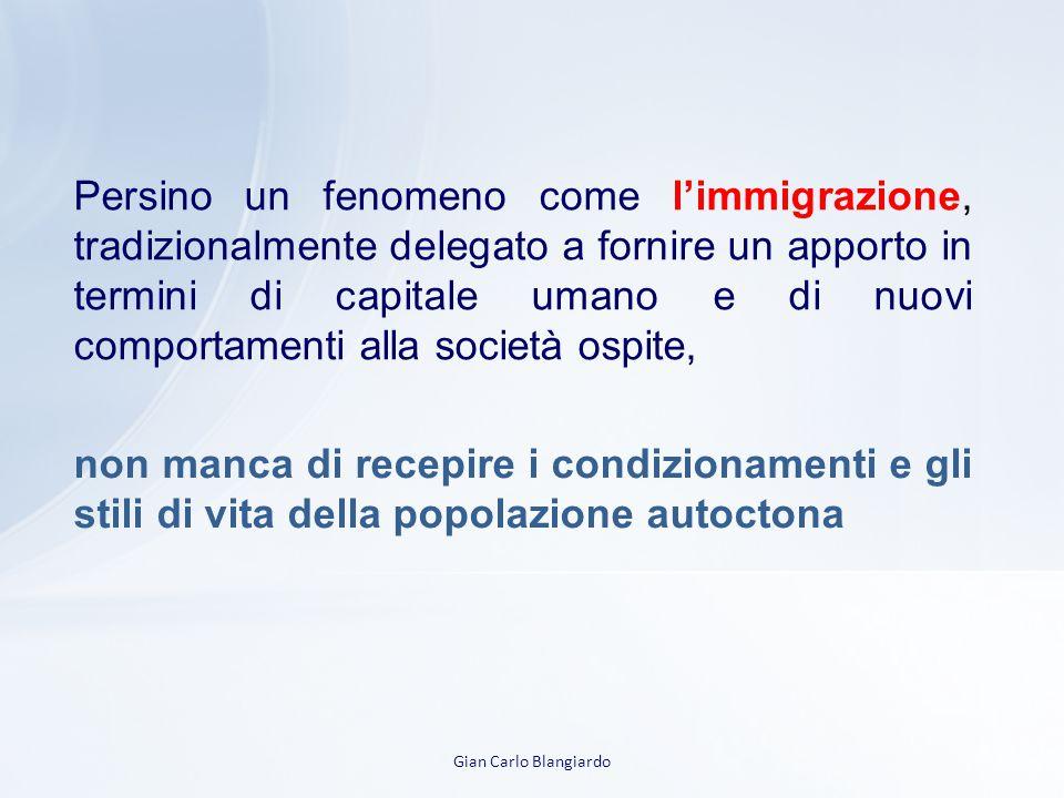 Gian Carlo Blangiardo Persino un fenomeno come l'immigrazione, tradizionalmente delegato a fornire un apporto in termini di capitale umano e di nuovi comportamenti alla società ospite, non manca di recepire i condizionamenti e gli stili di vita della popolazione autoctona