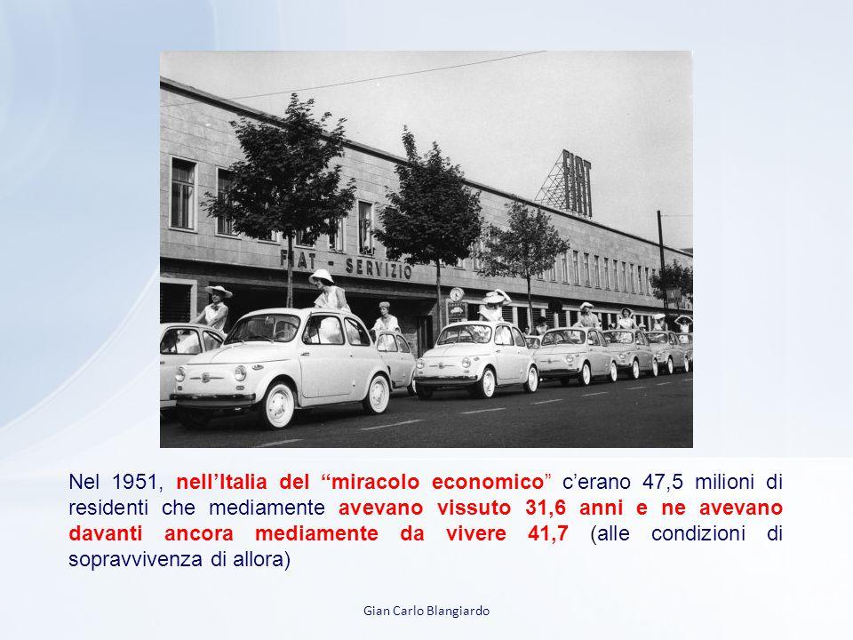Gian Carlo Blangiardo Nel 1951, nell'Italia del miracolo economico c'erano 47,5 milioni di residenti che mediamente avevano vissuto 31,6 anni e ne avevano davanti ancora mediamente da vivere 41,7 (alle condizioni di sopravvivenza di allora)