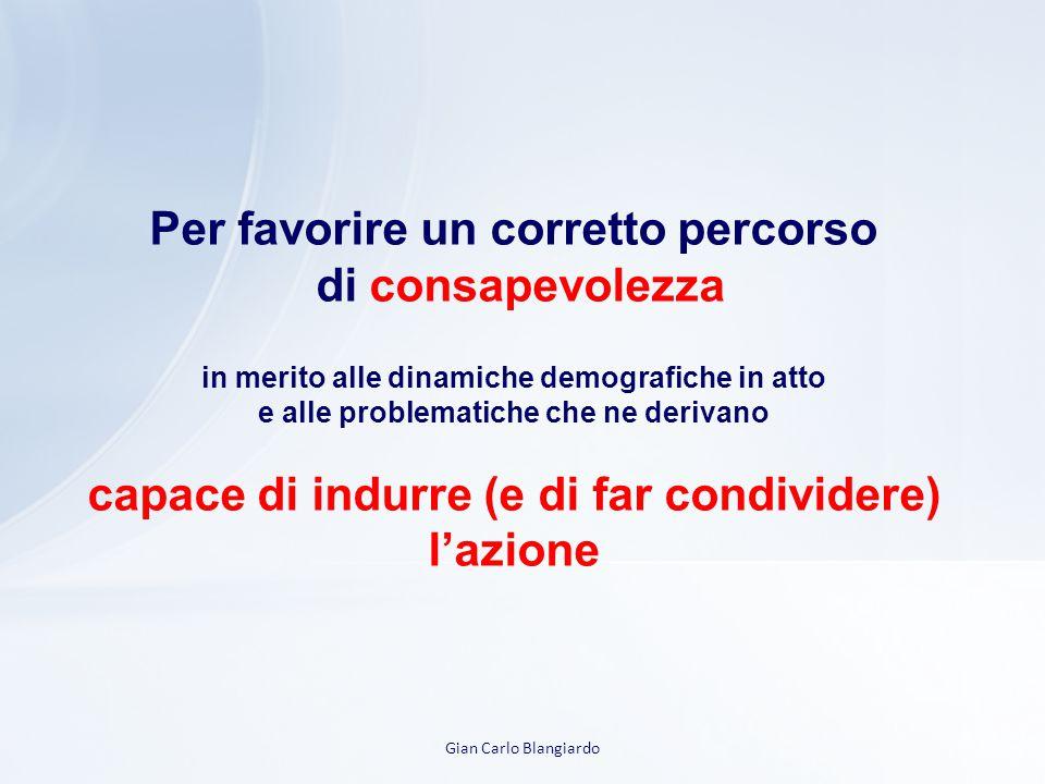 Gian Carlo Blangiardo Per favorire un corretto percorso di consapevolezza in merito alle dinamiche demografiche in atto e alle problematiche che ne derivano capace di indurre (e di far condividere) l'azione