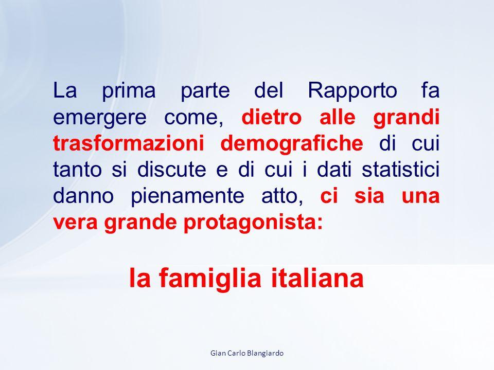 Gian Carlo Blangiardo La prima parte del Rapporto fa emergere come, dietro alle grandi trasformazioni demografiche di cui tanto si discute e di cui i dati statistici danno pienamente atto, ci sia una vera grande protagonista: la famiglia italiana