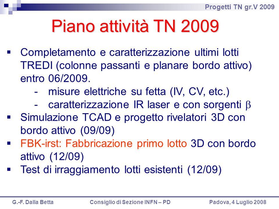 Progetti TN gr.V 2009 G.-F. Dalla Betta Consiglio di Sezione INFN – PD Padova, 4 Luglio 2008 Piano attività TN 2009  Completamento e caratterizzazion