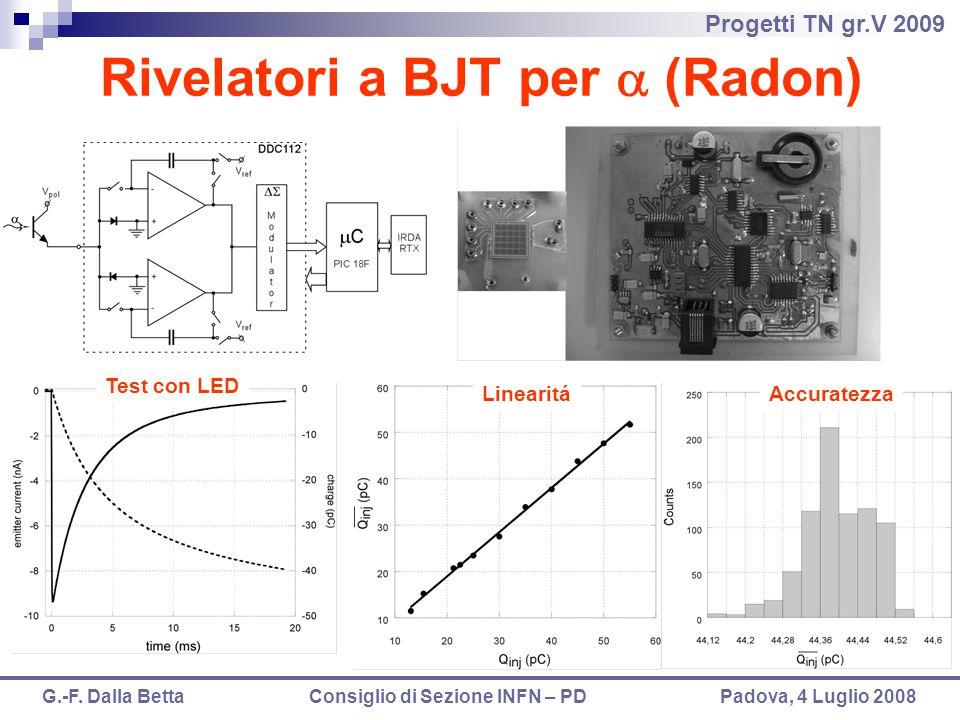 Progetti TN gr.V 2009 G.-F. Dalla Betta Consiglio di Sezione INFN – PD Padova, 4 Luglio 2008 Rivelatori a BJT per  (Radon) Test con LED LinearitáAccu
