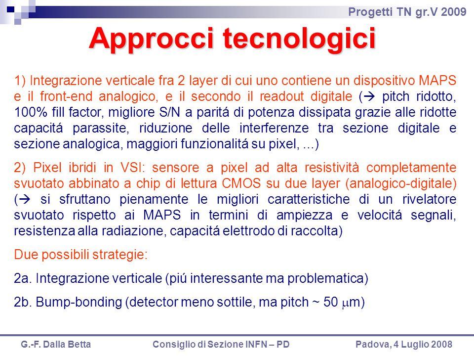Progetti TN gr.V 2009 G.-F. Dalla Betta Consiglio di Sezione INFN – PD Padova, 4 Luglio 2008 Approcci tecnologici 1) Integrazione verticale fra 2 laye