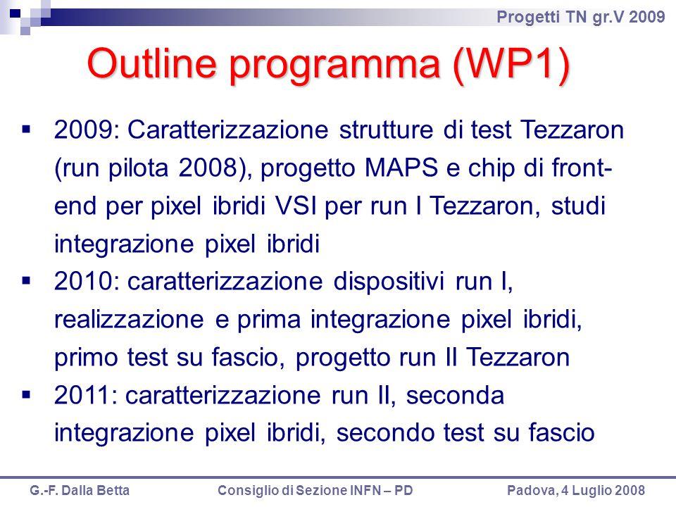 Progetti TN gr.V 2009 G.-F. Dalla Betta Consiglio di Sezione INFN – PD Padova, 4 Luglio 2008 Outline programma (WP1)  2009: Caratterizzazione struttu