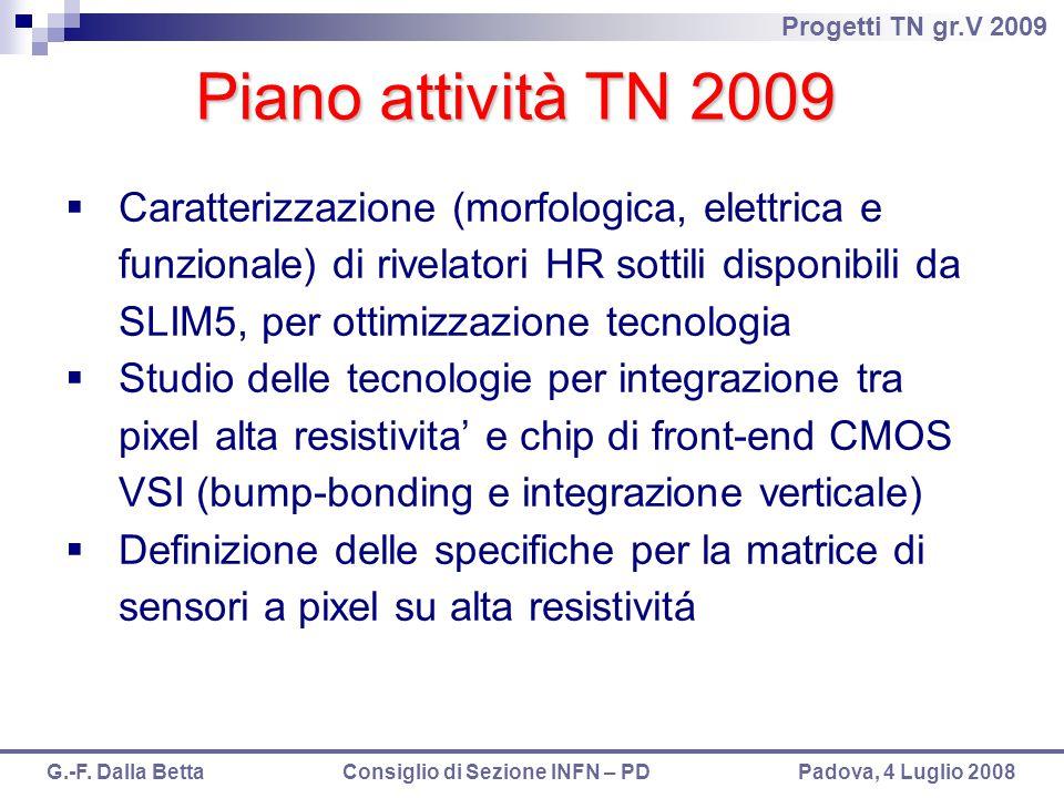 Progetti TN gr.V 2009 G.-F. Dalla Betta Consiglio di Sezione INFN – PD Padova, 4 Luglio 2008 Piano attività TN 2009  Caratterizzazione (morfologica,