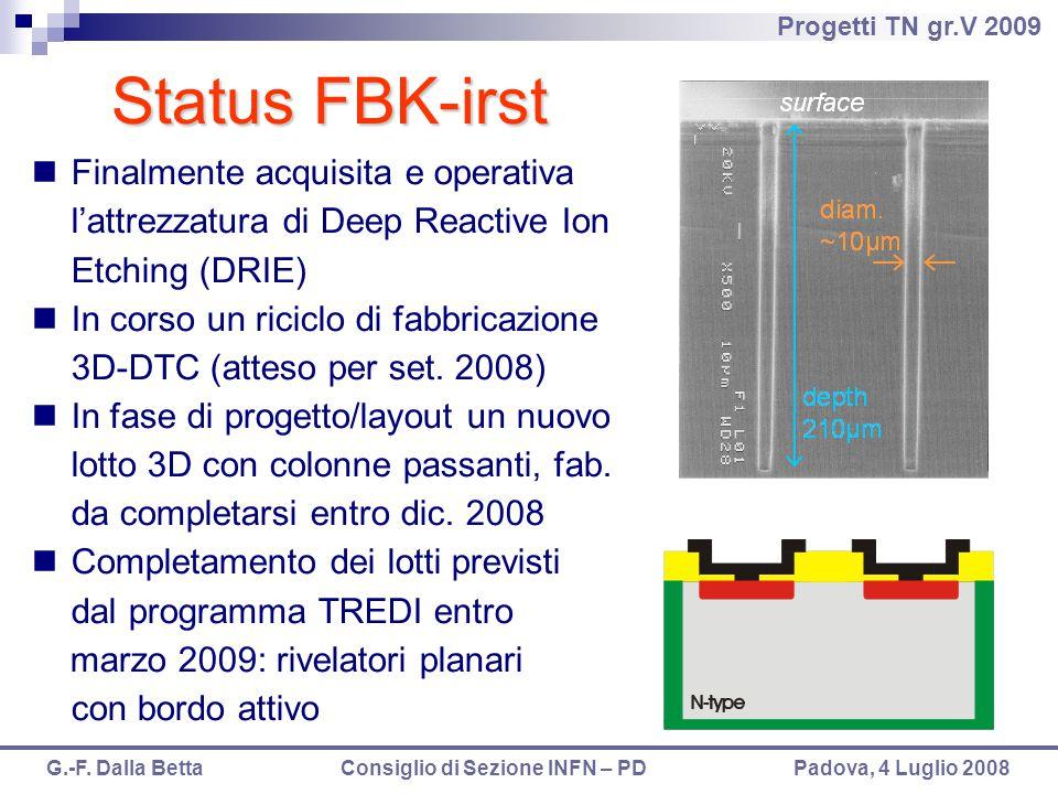 Progetti TN gr.V 2009 G.-F. Dalla Betta Consiglio di Sezione INFN – PD Padova, 4 Luglio 2008 Finalmente acquisita e operativa l'attrezzatura di Deep R