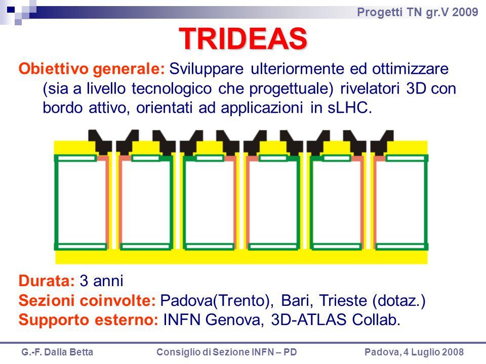 Progetti TN gr.V 2009 G.-F. Dalla Betta Consiglio di Sezione INFN – PD Padova, 4 Luglio 2008 TRIDEAS Obiettivo generale: Sviluppare ulteriormente ed o