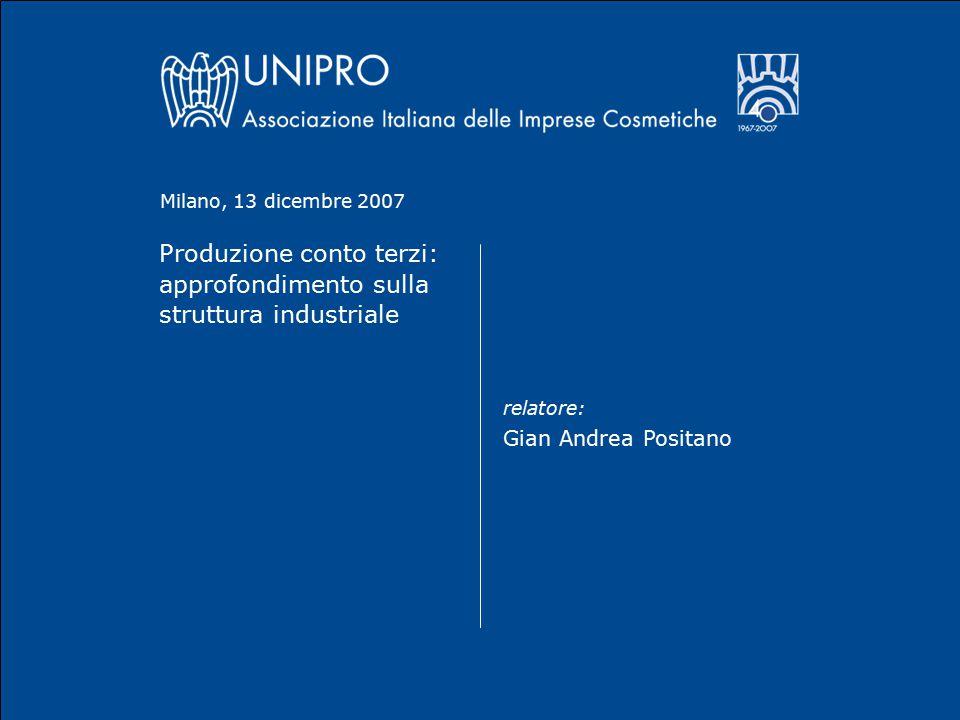 Produzione conto terzi: approfondimento sulla struttura industriale relatore: Gian Andrea Positano Milano, 13 dicembre 2007
