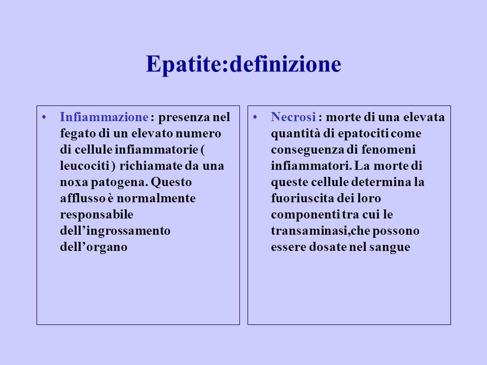 Epatite:definizione Infiammazione : presenza nel fegato di un elevato numero di cellule infiammatorie ( leucociti ) richiamate da una noxa patogena.