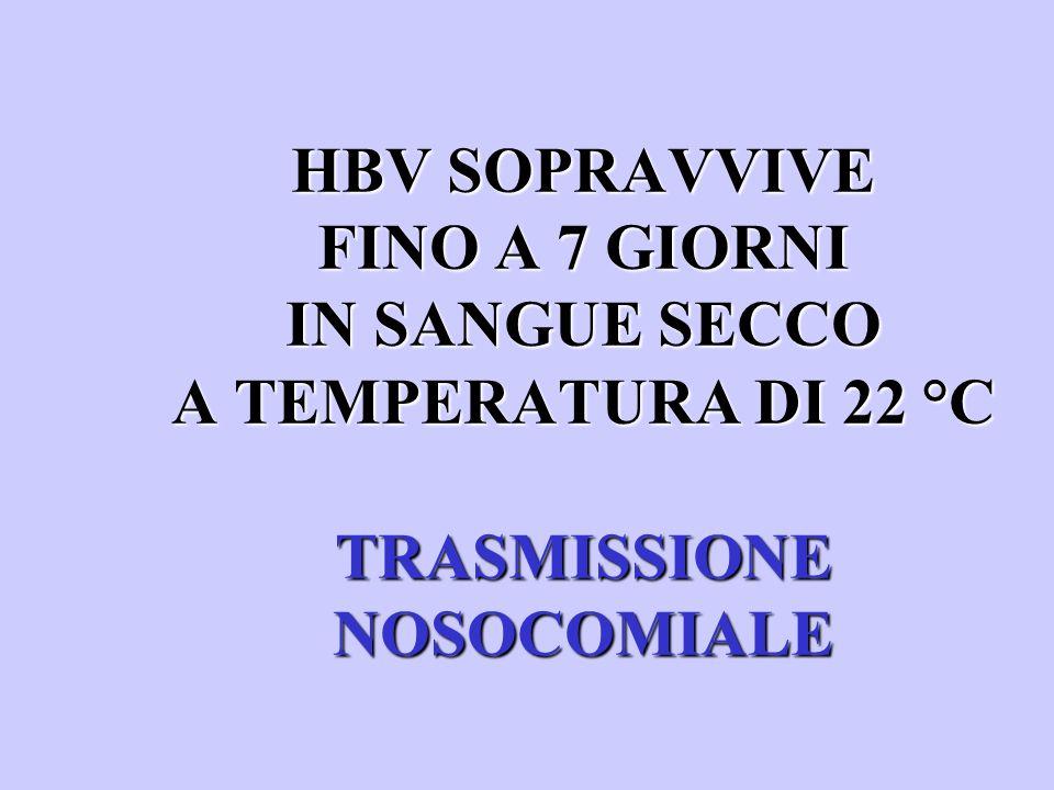 HBV SOPRAVVIVE FINO A 7 GIORNI IN SANGUE SECCO A TEMPERATURA DI 22 °C TRASMISSIONE NOSOCOMIALE