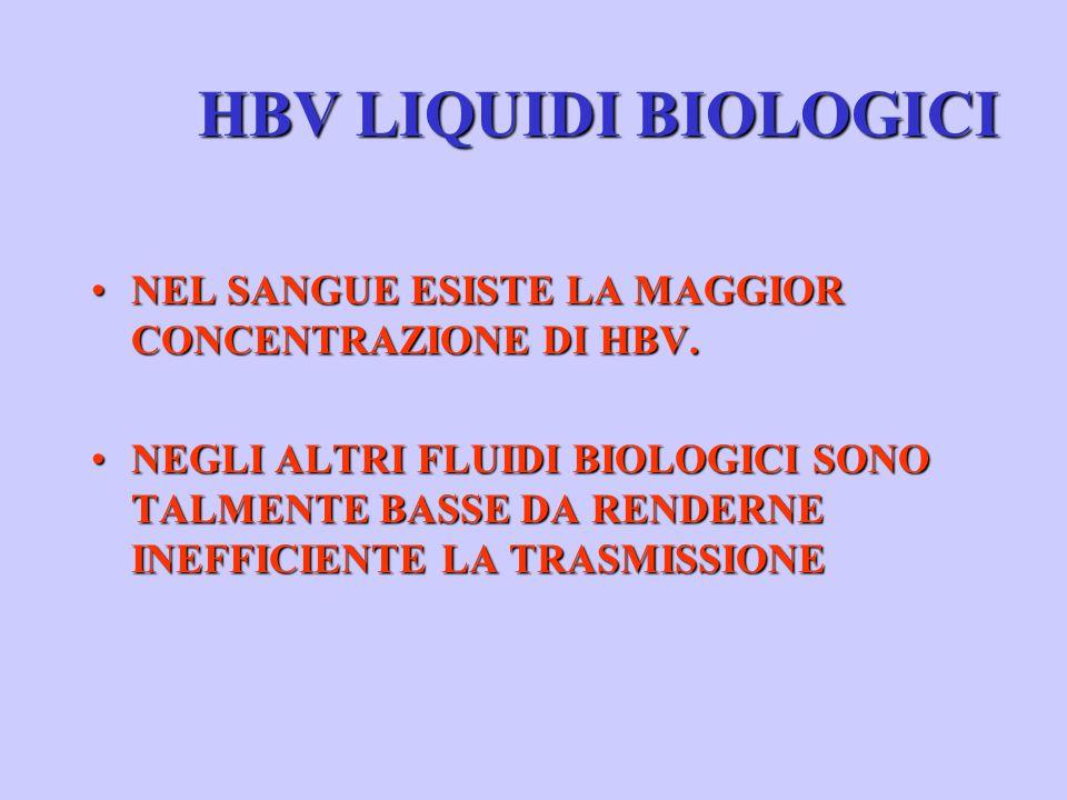 HBV LIQUIDI BIOLOGICI NEL SANGUE ESISTE LA MAGGIOR CONCENTRAZIONE DI HBV.NEL SANGUE ESISTE LA MAGGIOR CONCENTRAZIONE DI HBV.