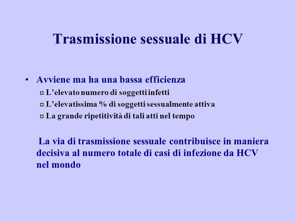Trasmissione sessuale di HCV Avviene ma ha una bassa efficienza ¤ L'elevato numero di soggetti infetti ¤ L'elevatissima % di soggetti sessualmente attiva ¤ La grande ripetitività di tali atti nel tempo La via di trasmissione sessuale contribuisce in maniera decisiva al numero totale di casi di infezione da HCV nel mondo