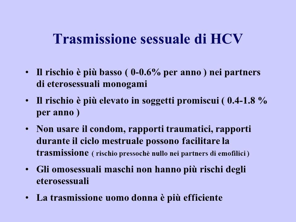 Il rischio è più basso ( 0-0.6% per anno ) nei partners di eterosessuali monogami Il rischio è più elevato in soggetti promiscui ( 0.4-1.8 % per anno ) Non usare il condom, rapporti traumatici, rapporti durante il ciclo mestruale possono facilitare la trasmissione ( rischio pressochè nullo nei partners di emofilici ) Gli omosessuali maschi non hanno più rischi degli eterosessuali La trasmissione uomo donna è più efficiente Trasmissione sessuale di HCV
