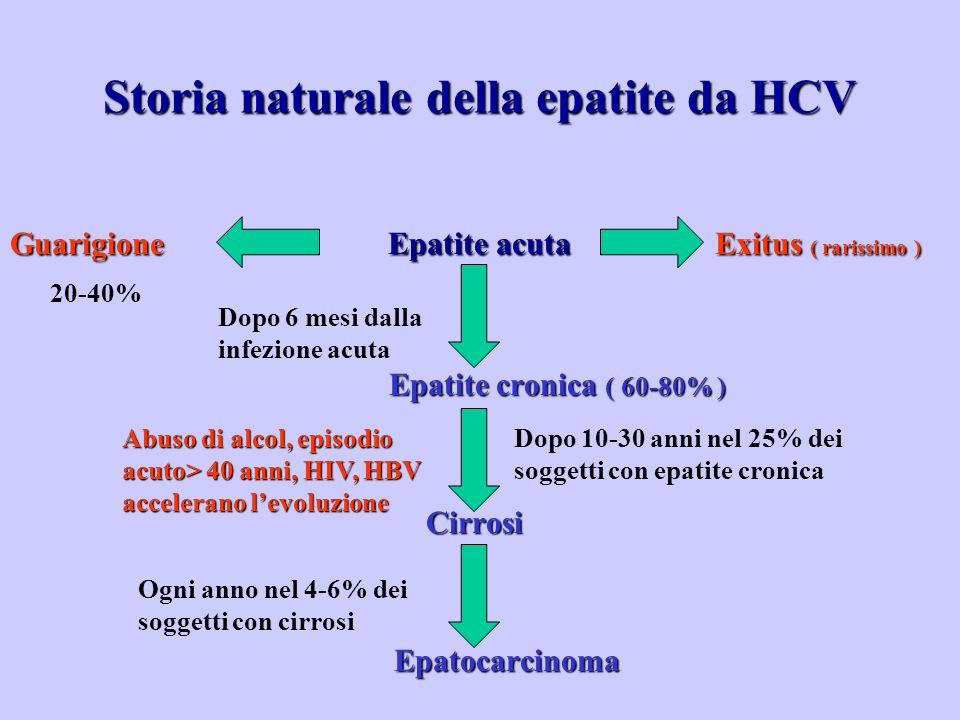 GuarigioneEpatite acuta Exitus ( rarissimo ) Guarigione Epatite acuta Exitus ( rarissimo ) Epatite cronica ( 60-80% ) Epatite cronica ( 60-80% ) Cirrosi Cirrosi Epatocarcinoma Epatocarcinoma Dopo 6 mesi dalla infezione acuta Dopo 10-30 anni nel 25% dei soggetti con epatite cronica Ogni anno nel 4-6% dei soggetti con cirrosi Storia naturale della epatite da HCV 20-40% Abuso di alcol, episodio acuto> 40 anni, HIV, HBV accelerano l'evoluzione