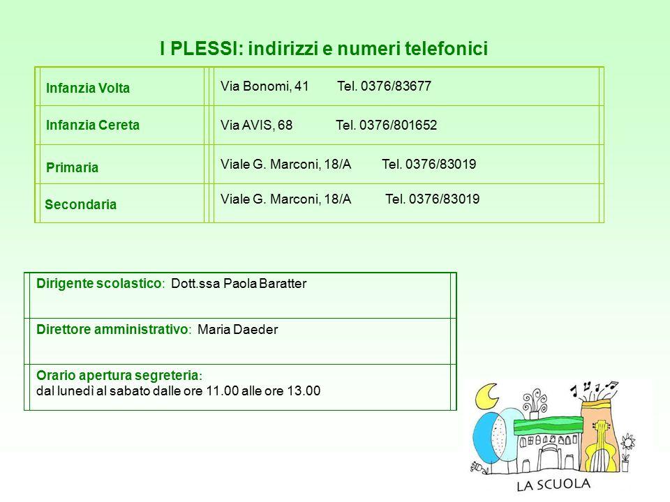 I PLESSI: indirizzi e numeri telefonici Infanzia Volta Via Bonomi, 41 Tel. 0376/83677 Infanzia CeretaVia AVIS, 68 Tel. 0376/801652 Viale G. Marconi, 1