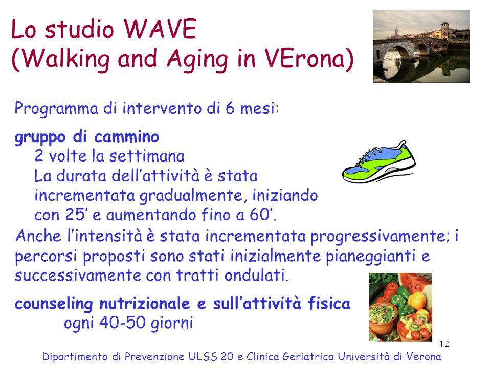 12 Lo studio WAVE (Walking and Aging in VErona) Dipartimento di Prevenzione ULSS 20 e Clinica Geriatrica Università di Verona Programma di intervento di 6 mesi: gruppo di cammino 2 volte la settimana La durata dell'attività è stata incrementata gradualmente, iniziando con 25' e aumentando fino a 60'.