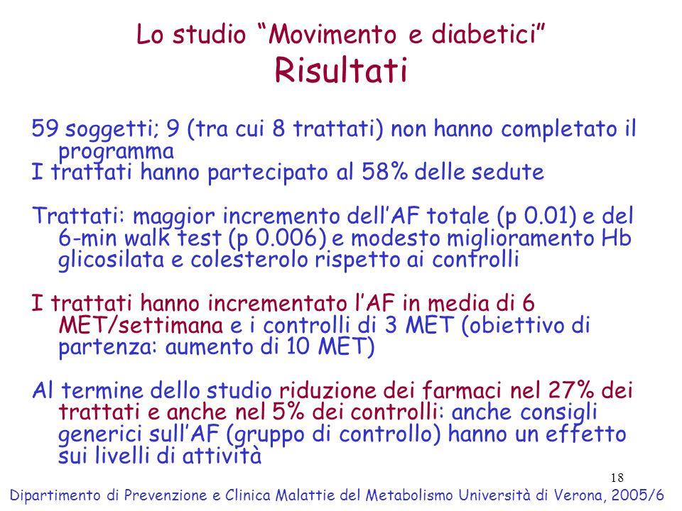 18 Lo studio Movimento e diabetici Risultati 59 soggetti; 9 (tra cui 8 trattati) non hanno completato il programma I trattati hanno partecipato al 58% delle sedute Trattati: maggior incremento dell'AF totale (p 0.01) e del 6-min walk test (p 0.006) e modesto miglioramento Hb glicosilata e colesterolo rispetto ai controlli I trattati hanno incrementato l'AF in media di 6 MET/settimana e i controlli di 3 MET (obiettivo di partenza: aumento di 10 MET) Al termine dello studio riduzione dei farmaci nel 27% dei trattati e anche nel 5% dei controlli: anche consigli generici sull'AF (gruppo di controllo) hanno un effetto sui livelli di attività Dipartimento di Prevenzione e Clinica Malattie del Metabolismo Università di Verona, 2005/6