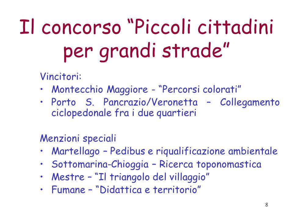 8 Il concorso Piccoli cittadini per grandi strade Vincitori: Montecchio Maggiore - Percorsi colorati Porto S.