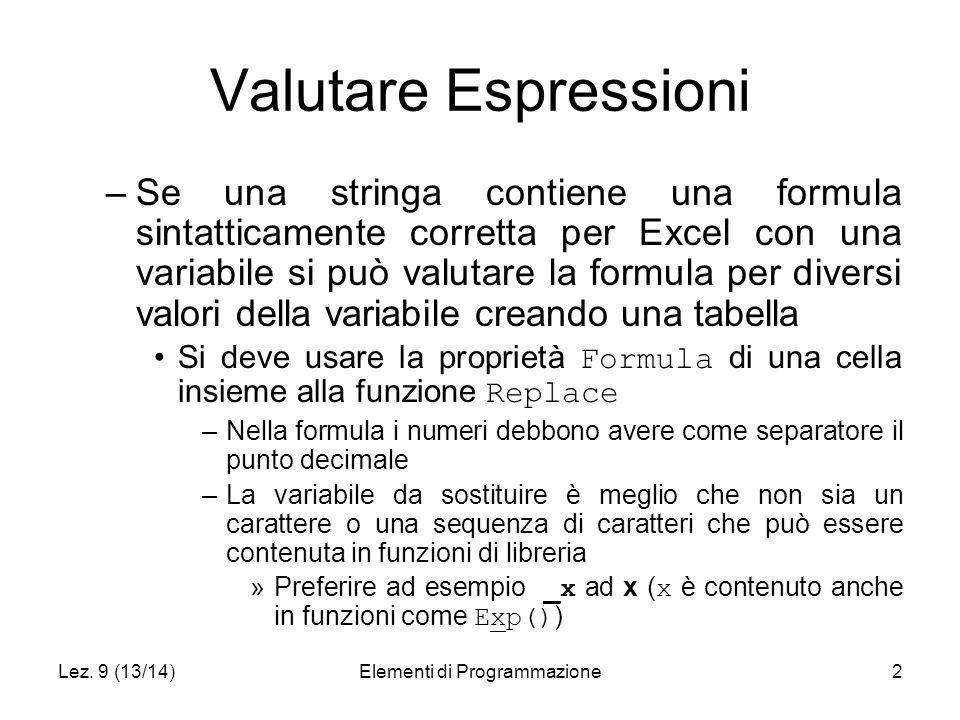 Lez. 9 (13/14)Elementi di Programmazione2 Valutare Espressioni –Se una stringa contiene una formula sintatticamente corretta per Excel con una variabi