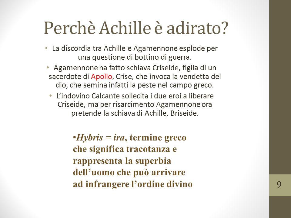 Perchè Achille è adirato? La discordia tra Achille e Agamennone esplode per una questione di bottino di guerra. Agamennone ha fatto schiava Criseide,