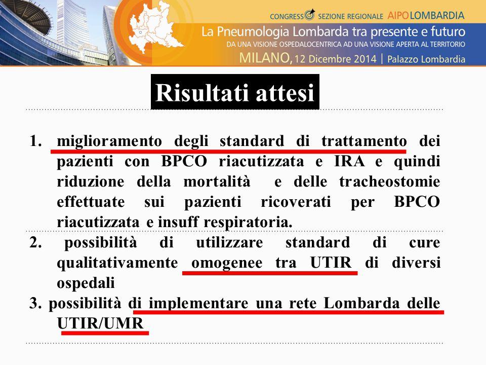 1.miglioramento degli standard di trattamento dei pazienti con BPCO riacutizzata e IRA e quindi riduzione della mortalità e delle tracheostomie effettuate sui pazienti ricoverati per BPCO riacutizzata e insuff respiratoria.