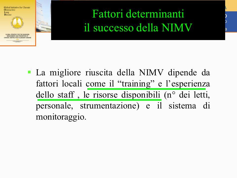 Fattori determinanti il successo della NIMV  La migliore riuscita della NIMV dipende da fattori locali come il training e l'esperienza dello staff, le risorse disponibili (n° dei letti, personale, strumentazione) e il sistema di monitoraggio.