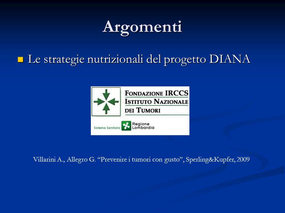 Argomenti Le strategie nutrizionali del progetto DIANA Le strategie nutrizionali del progetto DIANA Villarini A., Allegro G.