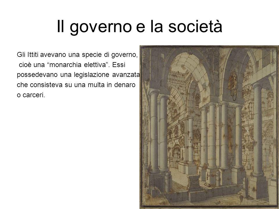 """Il governo e la società Gli Ittiti avevano una specie di governo, cioè una """"monarchia elettiva"""". Essi possedevano una legislazione avanzata che consis"""