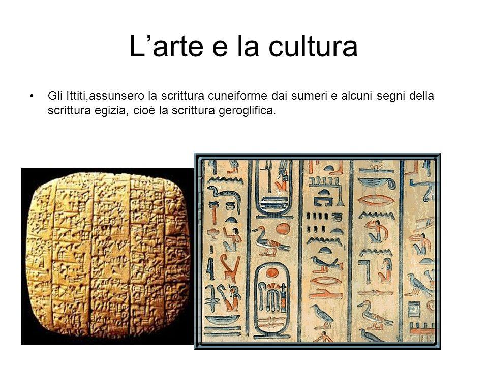 L'arte e la cultura Gli Ittiti,assunsero la scrittura cuneiforme dai sumeri e alcuni segni della scrittura egizia, cioè la scrittura geroglifica.