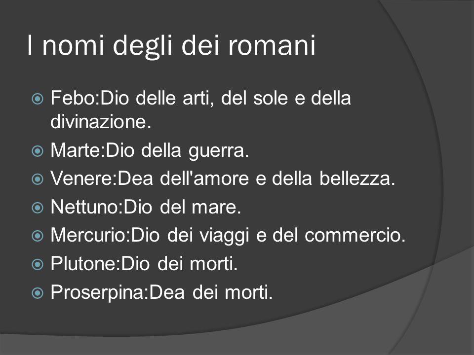 I nomi degli dei romani  Febo:Dio delle arti, del sole e della divinazione.  Marte:Dio della guerra.  Venere:Dea dell'amore e della bellezza.  Net