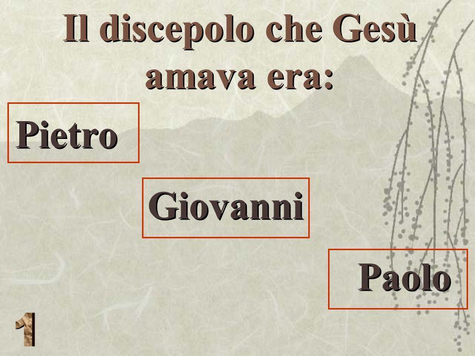 Il discepolo che Gesù amava era: Pietro Giovanni Paolo Pietro Giovanni Paolo