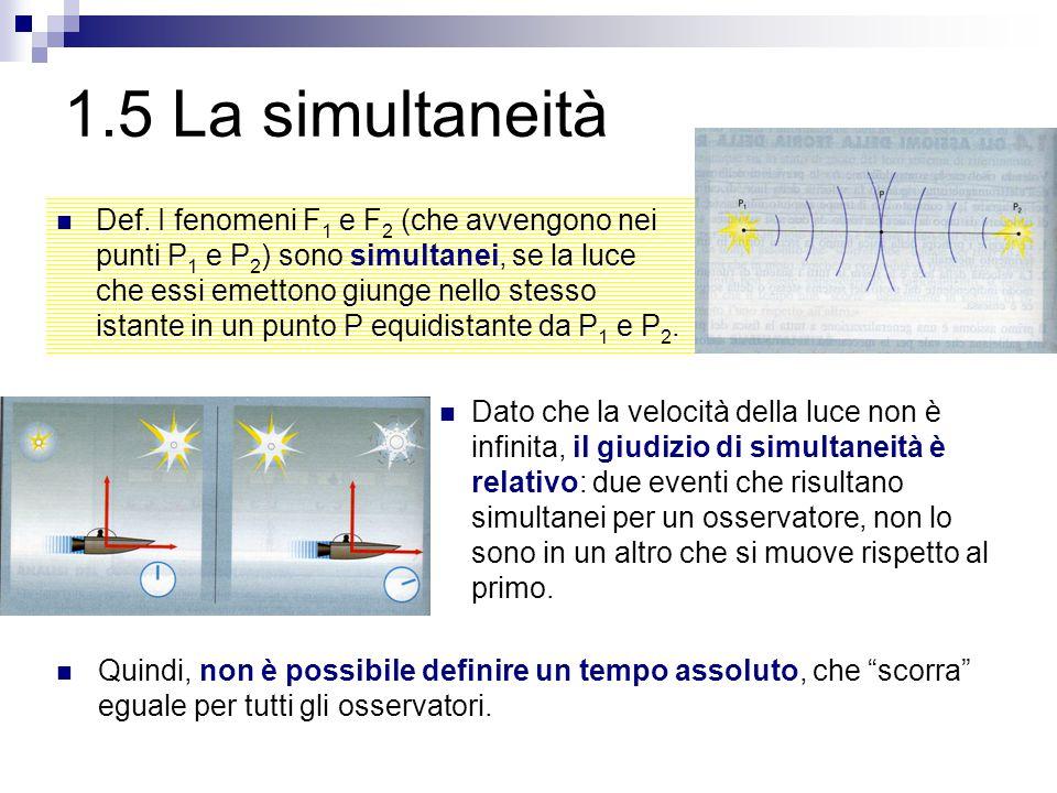 1.5 La simultaneità Def. I fenomeni F 1 e F 2 (che avvengono nei punti P 1 e P 2 ) sono simultanei, se la luce che essi emettono giunge nello stesso i