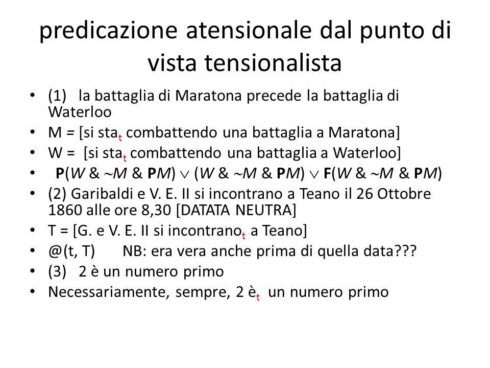 predicazione atensionale dal punto di vista tensionalista (1)la battaglia di Maratona precede la battaglia di Waterloo M = [si sta t combattendo una b