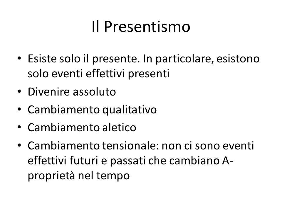Il Presentismo Esiste solo il presente. In particolare, esistono solo eventi effettivi presenti Divenire assoluto Cambiamento qualitativo Cambiamento