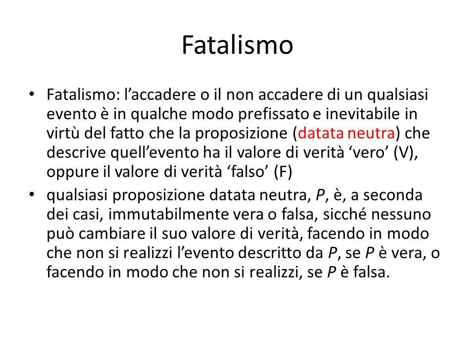 Fatalismo Fatalismo: l'accadere o il non accadere di un qualsiasi evento è in qualche modo prefissato e inevitabile in virtù del fatto che la proposiz