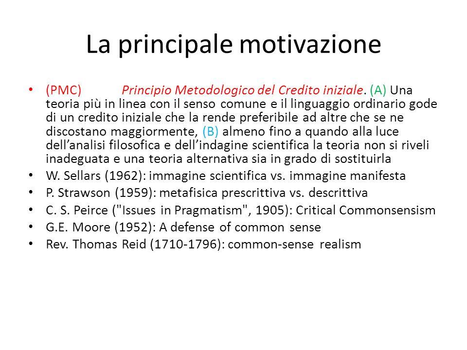 La principale motivazione (PMC)Principio Metodologico del Credito iniziale. (A) Una teoria più in linea con il senso comune e il linguaggio ordinario