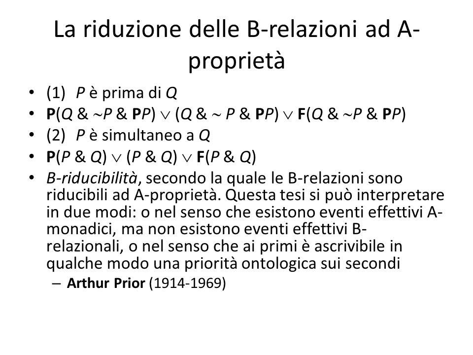 La riduzione delle B-relazioni ad A- proprietà (1)P è prima di Q P(Q &  P & PP)  (Q &  P & PP)  F(Q &  P & PP) (2)P è simultaneo a Q P(P & Q)  (