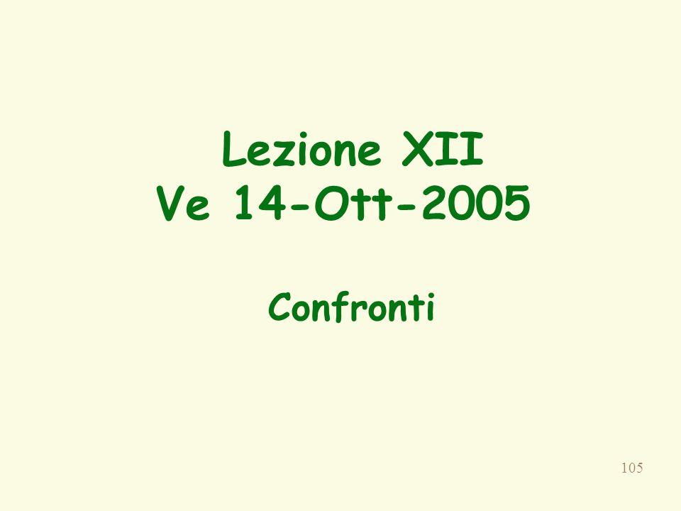 105 Lezione XII Ve 14-Ott-2005 Confronti