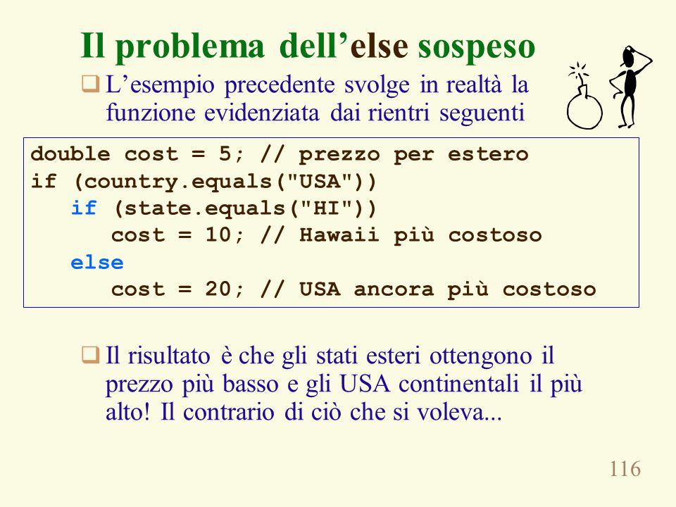 116 Il problema dell'else sospeso  L'esempio precedente svolge in realtà la funzione evidenziata dai rientri seguenti  Il risultato è che gli stati