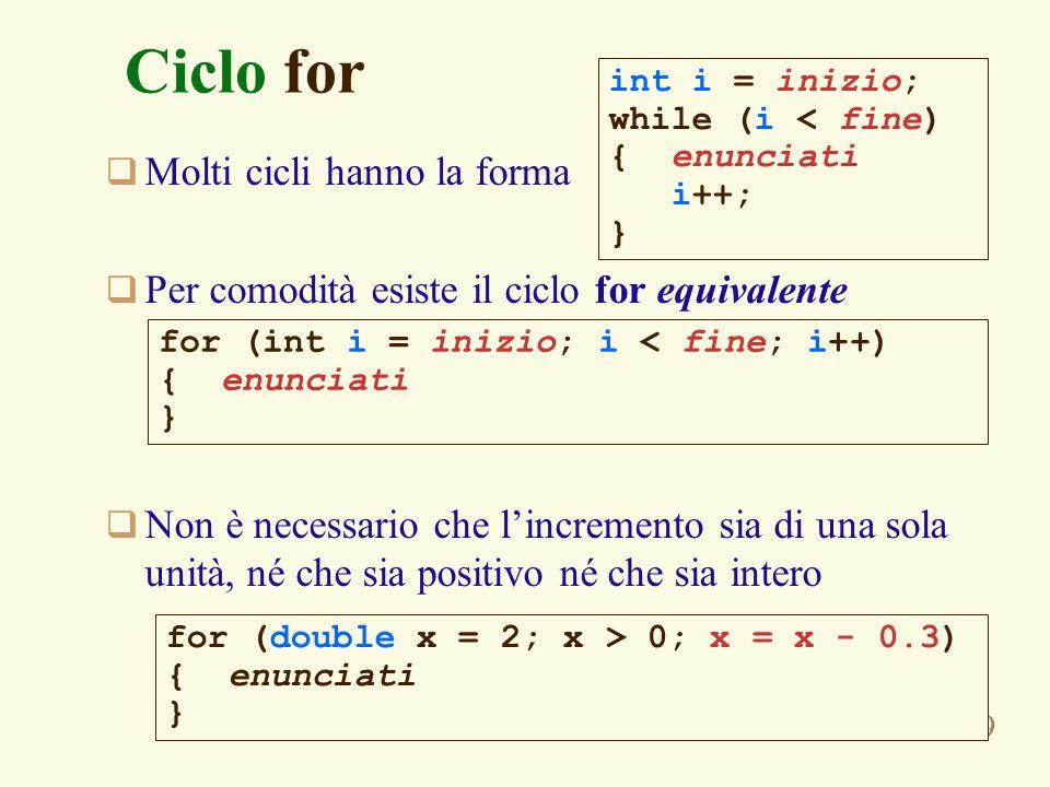 119 Ciclo for  Molti cicli hanno la forma  Per comodità esiste il ciclo for equivalente  Non è necessario che l'incremento sia di una sola unità, né che sia positivo né che sia intero int i = inizio; while (i < fine) { enunciati i++; } for (int i = inizio; i < fine; i++) { enunciati } for (double x = 2; x > 0; x = x - 0.3) { enunciati }